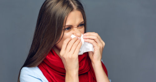 lady suffering from colds